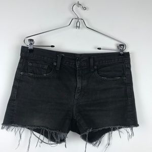 GAP Black Distressed Denim Jean Slim Shorts 27
